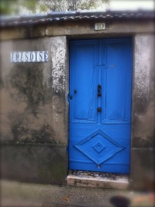 An inviting blue door
